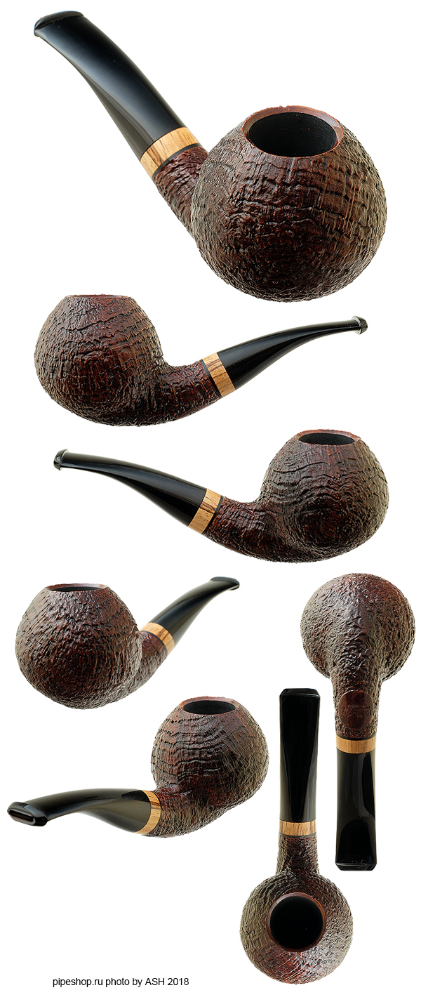 Курительная трубка PS Studio BROWN SANDBLAST BENT APPLE WITH ZEBRANO