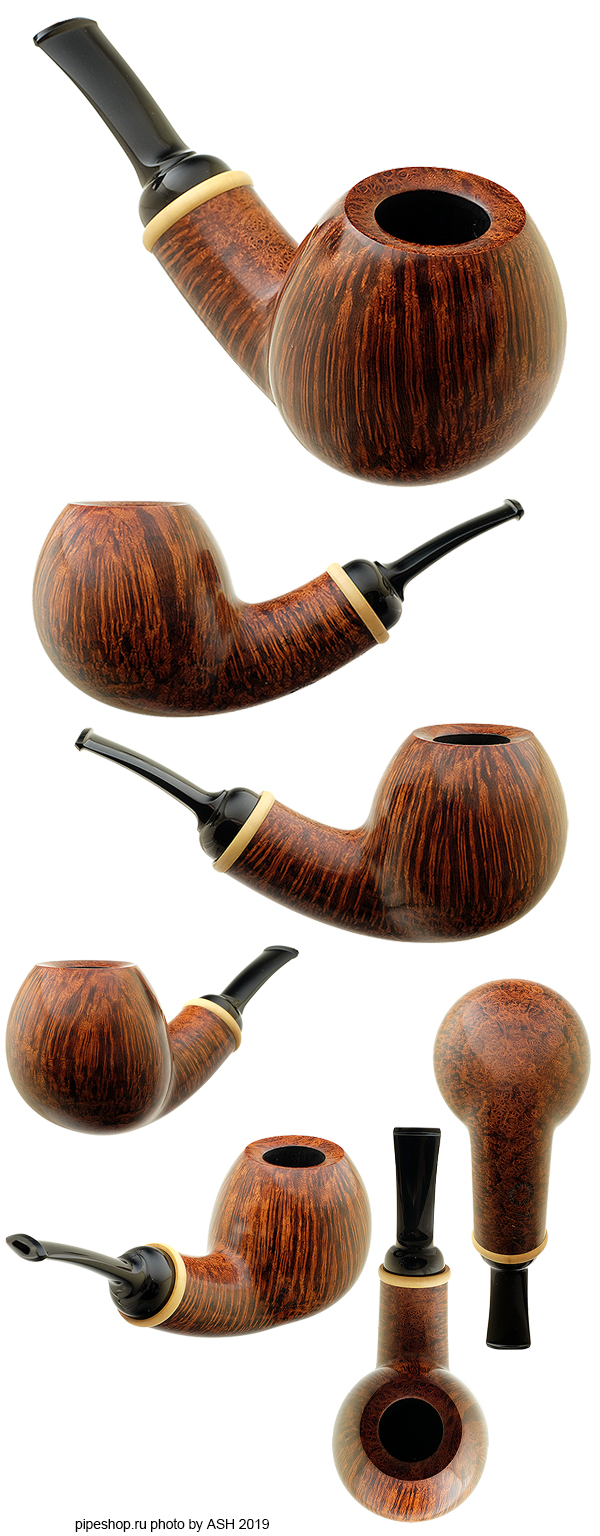 Курительная трубка NANNA IVARSSON SMOOTH BENT APPLE WITH BOXWOOD 1019