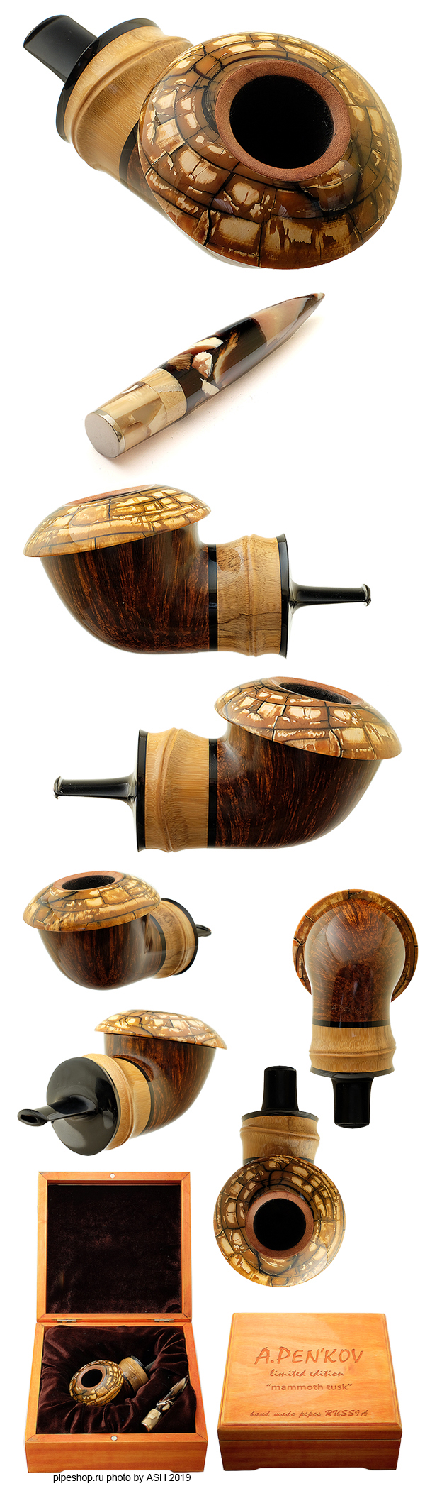 "Курительная трубка A. PEN`KOV LIMITED EDITION ""MAMMOTH TUSK"" BUDDHA BAMBOO RC CALABASH WITH TAMPER ESTATE NEW"