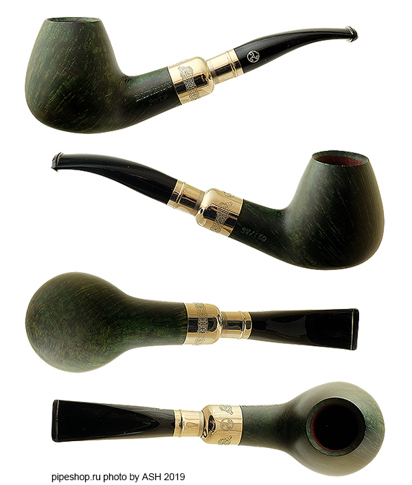 Курительная трубка RATTRAY`S PIPE OF THE YEAR 2019 GREEN SMOOTH BENT BRANDY SPIGOT 37/160, фильтр 9 мм