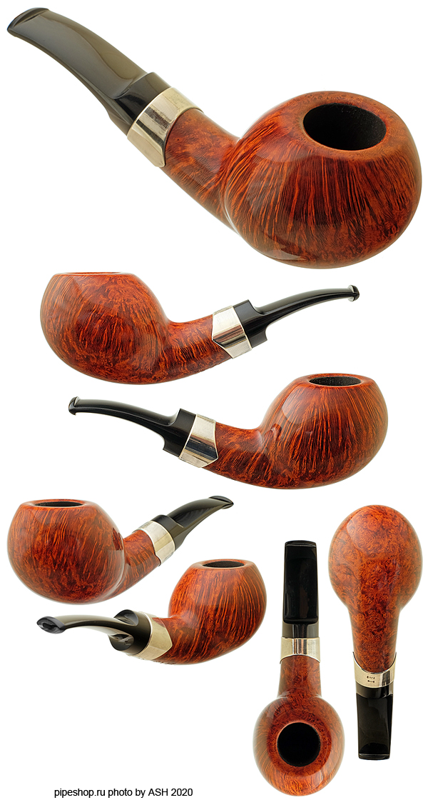 Курительная трубка S. BANG SMOOTH BENT APPLE WITH SILVER UN 1547