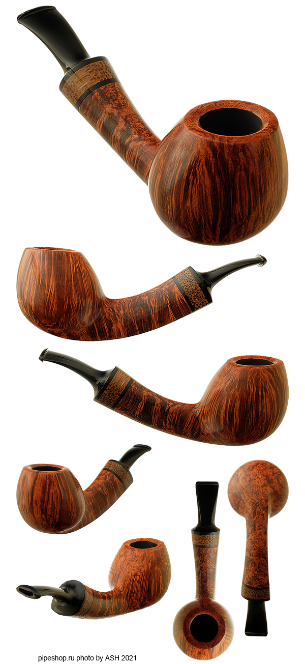 Курительная трубка ГРЕЧУХИН SMOOTH TEAR DROP LONG SHANK BENT BRANDY WITH PALMWOOD